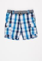 MINOTI - Checked short with belt - blue