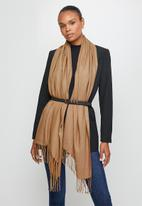 edit - Fringed infinity scarf - beige