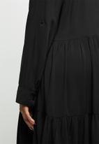 edit Plus - Tiered shirt dress - black