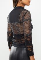 GUESS - Long sleeve Emma mock neck top - black