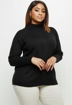 edit Plus - Detail rib sleeve jumper - black