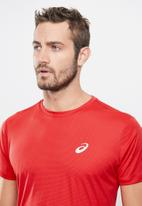 ASICS - Silver ss top - red