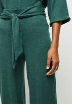 edit - Belted lounge wide leg pant - green