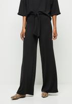 edit - Belted lounge wide leg pant - black