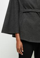 edit - Belted melton cape coat - grey
