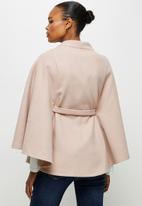 edit - Belted melton cape coat - pink