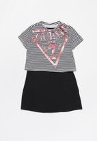 GUESS - Girls Guess short sleeve jersey dress - black & white