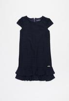 GUESS - Girls jacquard cup sleeve dress - navy