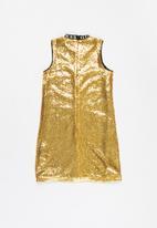 GUESS - Girls full sequin dress - gold & black
