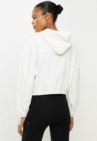 Cotton On - Cropped cord hoodie jacket - white