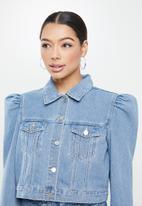 Missguided - Puff sleeve jean grazer denim jacket - blue