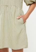 Missguided - Gingham balloon sleeve mini dress - yellow & black