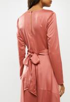 MILLA - Sueded satin wrap bodice midi dress - dusty pink