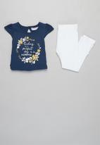 MINOTI - Top & legging set - blue & white