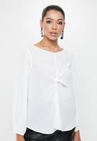 MILLA - Georgette blouse with twist front - ivory