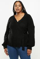 Missguided - Plus balloon sleeve buckle cardigan - black