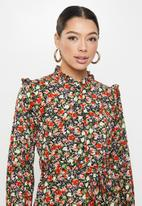 Missguided - Frill neck midi smock dress floral - multi