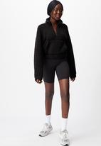 Factorie - Qtr zip teddy fleece - black