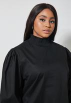Superbalist - Highneck shirred blouse - black