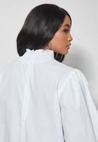 Superbalist - Highneck shirred blouse - white