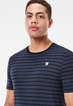 G-Star RAW - Korpaz stripe gr slim r short sleeve tee- sartho blue/dk black stripe