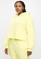 Blake - Fleece cropped hoodie - butter yellow