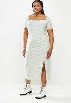 Blake - Puff sleeve midi dress with slit - sage