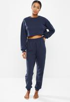 Missguided - Petite co ord crop sweat jogger set - navy