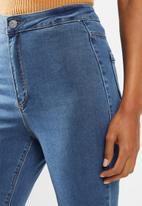 Missguided - Petite vice highwaisted slash knee skinny - blue