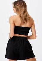 Factorie - Reverse fleece short - black