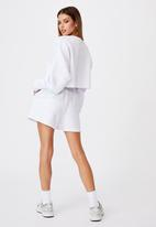 Factorie - Waffle cropped crew - white