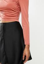 Blake - Bardot wrap bodice crop top - dusty pink