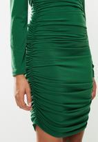 Blake - Bardot ruched mini dress - emerald