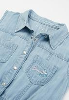 GUESS - Girls slub denim dress - blue