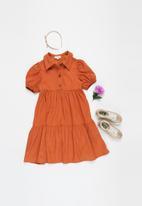 Superbalist Kids - Younger girls puff sleeve shirt dress - rust