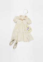 Superbalist Kids - Younger girls puff sleeve shirt dress - beige