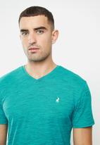 POLO - Mens oliver short sleeve v-neck space dye - teal