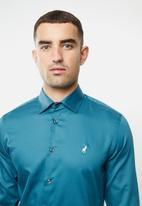 POLO - Mens greig ls shirt - blue