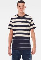 G-Star RAW - Pixelated stripe r short sleeve tee - black & beige
