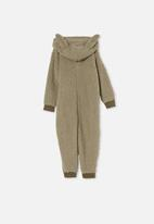 Cotton On - Boys all-in-one onesie teddy fleece - sage
