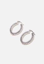 Rubi - Noughties hinge hoop - spiral rope silver