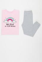 POP CANDY - Younger girls tee & pants pj set - pink & grey