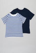 POP CANDY - Younger boys 2 pack stripe short sleeve tees - navy & white