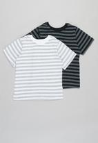 POP CANDY - Younger boys 2 pack stripe tees - grey & white