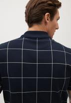 MANGO - Check polo shirt - navy & white