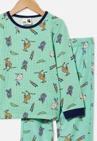 Cotton On - Noah long sleeve pyjama set - mint breeze