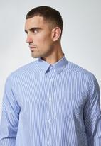 Superbalist - Barber regular fit stripe shirt - blue & white