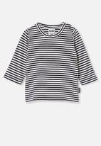 Cotton On - Jamie long sleeve tee - chris stripe vintage navy/vanilla