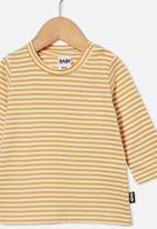 Cotton On - Jamie long sleeve tee - chris stripe vintage honey/vanilla