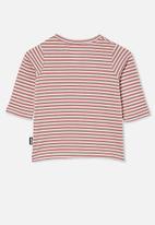Cotton On - Jamie long sleeve tee - chris stripe dusty berry/vanilla